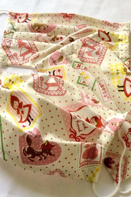 Mask reusable cotton fabric print colorful uni cosplay face unisex little reed riding hood fairytale brothers grimm wolf vintage