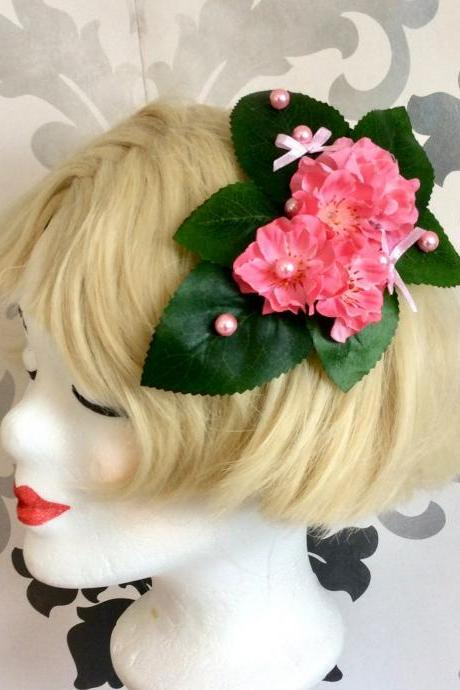 Pretty hair accessories flower hair clip lolita pink rockabilly leaves cherry blossom pearls elf wedding ribbon fascinator green bow loop
