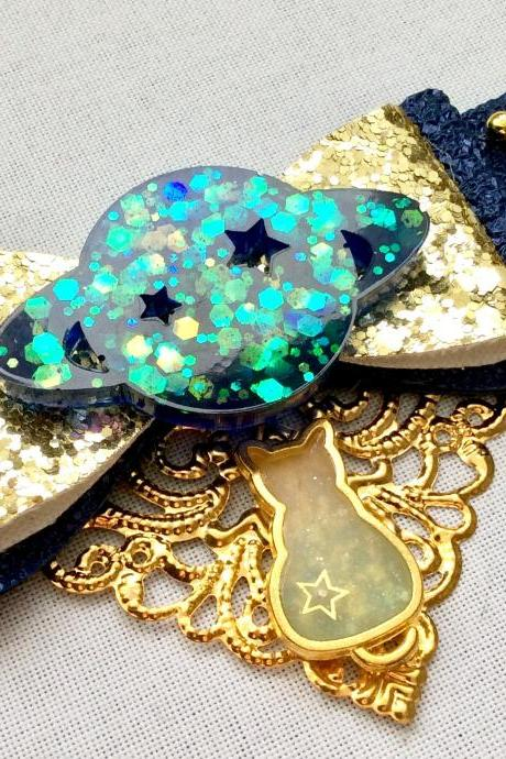Beautiful hair bow pearls cabochon resin stars rhinestone galaxy blue gold planet nightsky brooch pin cat kitty saturn planet lolita cosplay