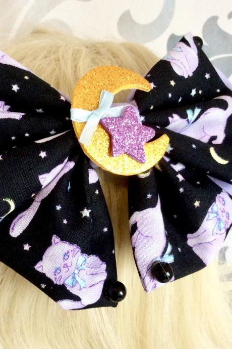 Gorgeous Lolita hair bow cute sweet kawaii loop costume clip rockabilly cute clasp hair clip cat kitty cat moon stars galaxy bow hairbow