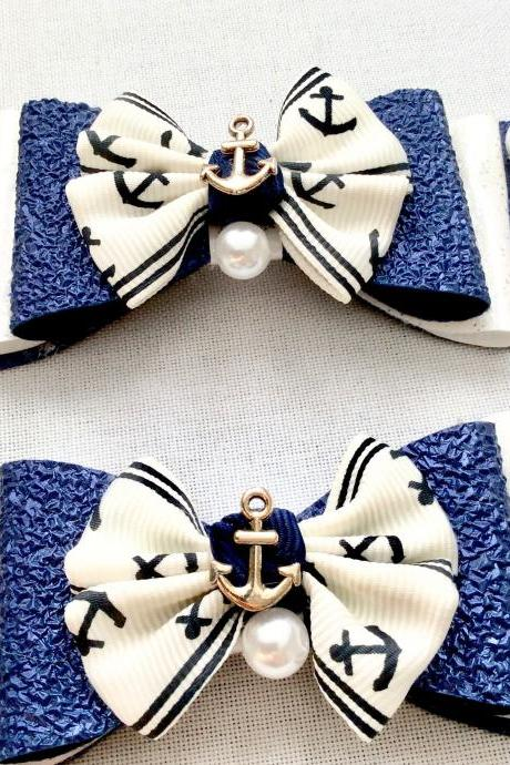 2 Sailor hair bows lolita blue white pearls anchor charms rockabilly vintage maritime sea kawaii glitter ribbon beach brooch pin hair clip