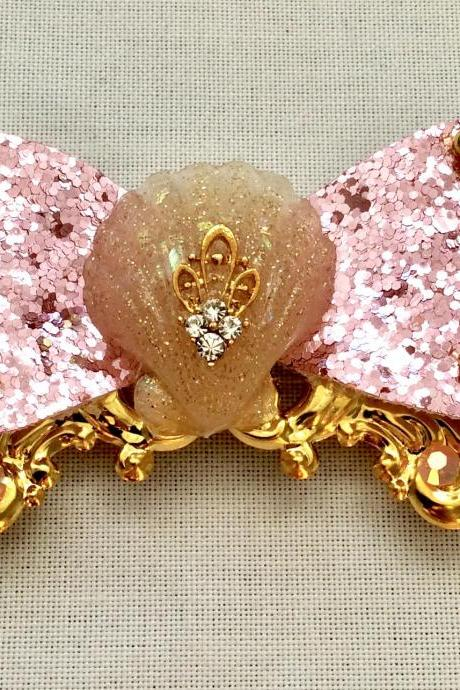 Mermaid glitter hair bow cabochon resin gold pink fairykei pastelgoth maritime sea galaxy ornament shell kawaii brooch pin clip jewelry