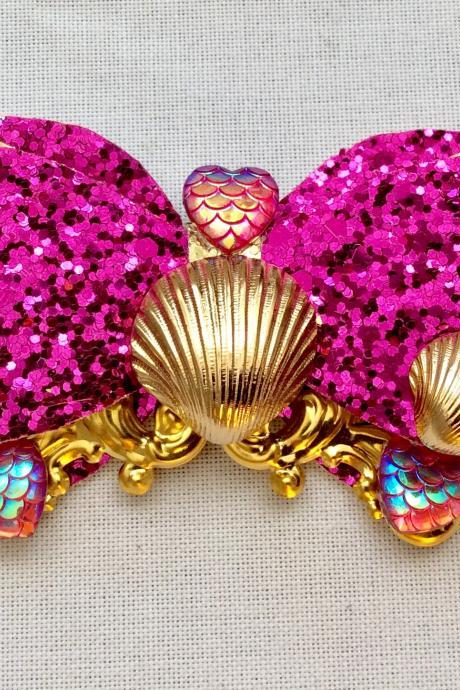 Mermaid glitter hair bow cabochon resin gold pink fairykei pastelgoth maritime sea galaxy scales shell heart kawaii brooch pin clip jewelry