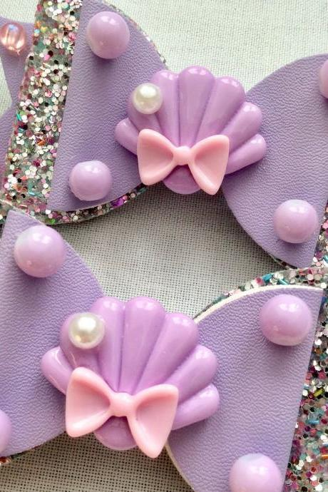 2 Mermaid holo hair bow cabochon resin lilac lavender pink fairykei pastelgoth maritime sea galaxy scales shell jelkyfish kawaii brooch pin
