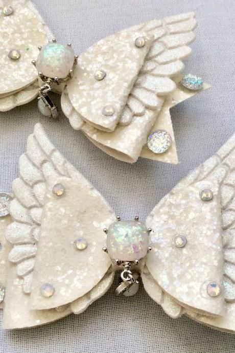 Sweet Lolita hair bow angel rainbow cabochon resin white wings rhinestone kawaii glitter gold brooch pin fairykei pastelgoth cute pegasus