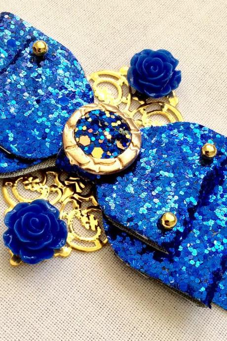 Beautiful Classic Lolita hair bow roses print pearls cameo cabochon resin vintage queen baroque kawaii wedding blue gold glitter brooch pin