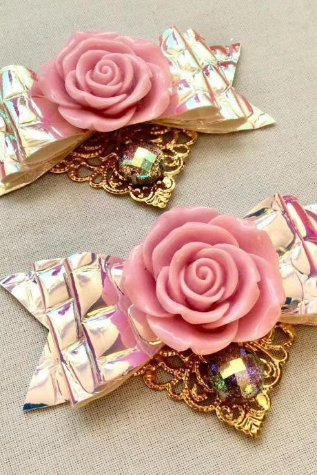 Beautiful Classic Lolita hair bow roses pearls lilac lavender gold cabochon resin holographic rockabilly kawaii wedding glitter brooch pin