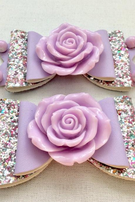 Beautiful Classic Lolita hair bow roses pearls lilac lavender silver cabochon resin vintage rockabilly kawaii wedding glitter brooch pin