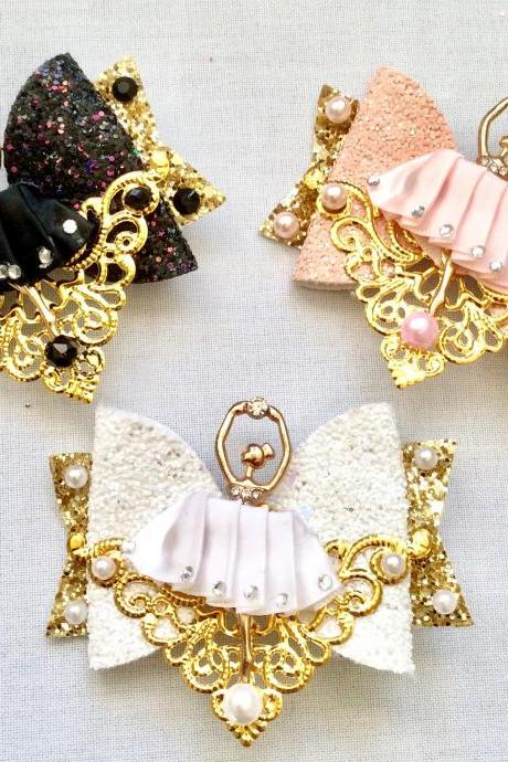 Sweet Lolita hair bow princess roses cabochon resin ballet ballerina rhinestone kawaii glitter gold brooch pin fairykei pastelgoth cute