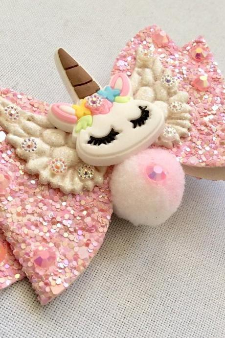 Sweet Lolita hair bow unicorn rainbow cabochon resin pink wings rhinestone kawaii glitter gold brooch pin fairykei pastelgoth cute pegasus
