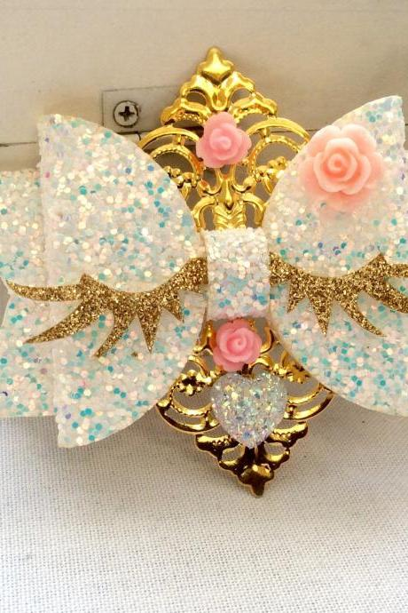 Sweet Lolita hair bow unicorn rainbow cabochon resin holo eyes lashes rhinestone kawaii glitter gold brooch pin fairykei pastelgoth cute