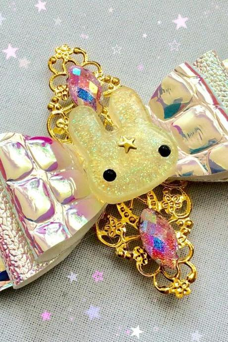 Sweet Lolita hair bow bunny rabbit usagi cabochon resin holo holographic rhinestone kawaii glitter gold brooch pin fairykei pastelgoth cute