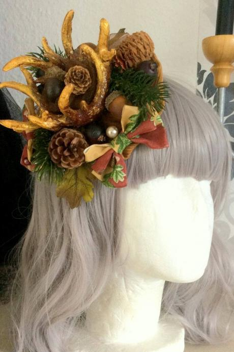 Beautiful, autumnal Lolita antler- crown, headdress, fantasy, forest fairy, elf, faun