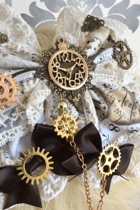 Lovely Lolita Hair Bow Steampunk Gears Watch Alice Classical Gothic Bow Headpiece Hair Band Headdress Bow Lace Print Jewelry hairbow