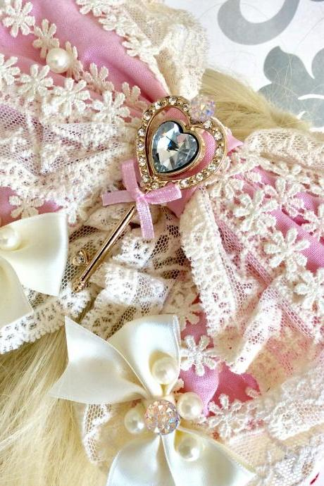 Beautiful pink hair bow decoration lolita rhinestone pearl lace resin cabochon kawaii sweet key charm headdress hairbow country vintage