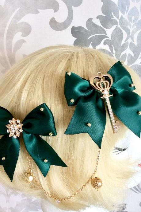 Pretty satin bows with pearl necklace, brow necklace, key, crown, classic lolita, green, hair clip, tiara, headpiece, gold,pearls,rhinestone