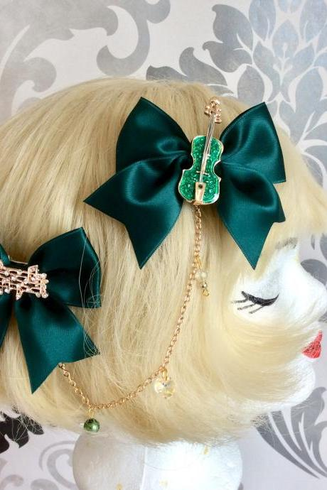 Pretty satin bows with pearl necklace, brow necklace notes violin classic lolita, green, hair clip, tiara, headpiece, gold,pearls,rhinestone