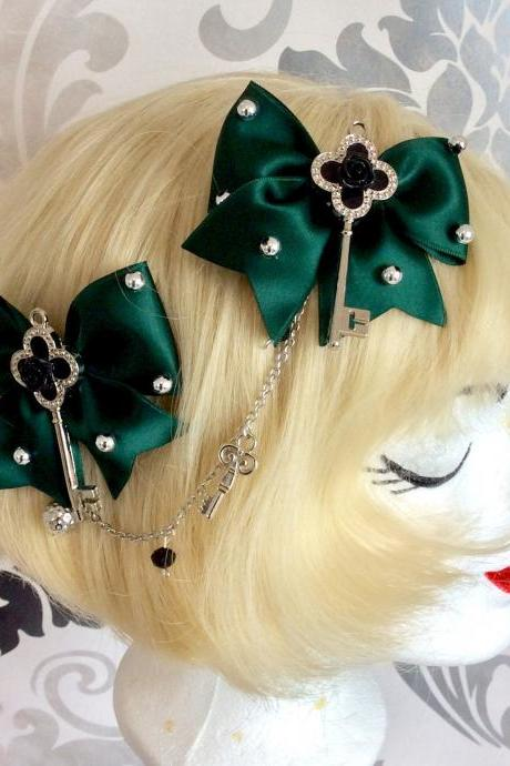 Pretty satin bows with pearl necklace brow necklace key alice classic lolita green hair clip rose tiara headpiece silver pearls rhinestone
