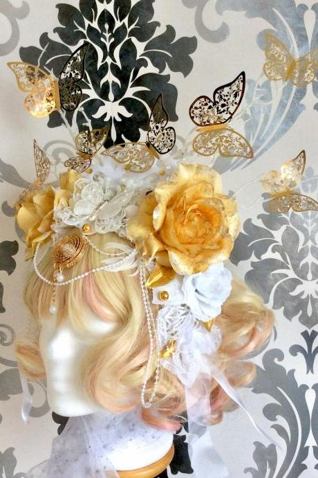 Glamorous flower crown, butterflies, ornament, rhinestones, bows, pearls, cosplay, flowers, roses, fantasy, elf, fairy, white, gold, lace