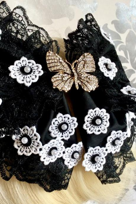 Pretty hair bow headbow black white butterfly gothic lolita lace headpiece headband fascinator beads vintage flower clips loop floral kawaii