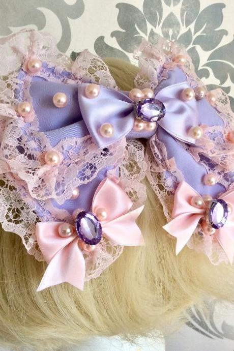 Beautiful pink lilac hair bow decoration lolita rhinestone pearls frills lace braid kawaii sweet heart sweet pastel headdress headpiece fairykei lace ruffles