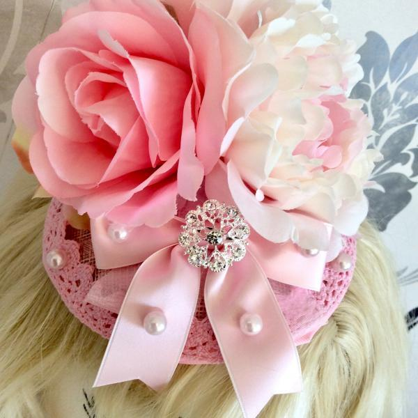 Vintage Fascinator Pink retro Rose Ribbon Headband Classic Lolita Pink Rockabilly Flower Beaded Organza Jewelry Rhinestone Wedding bride